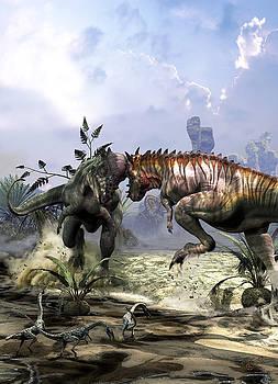 Pachycephalosaurus fighting for Dominance by Kurt Miller