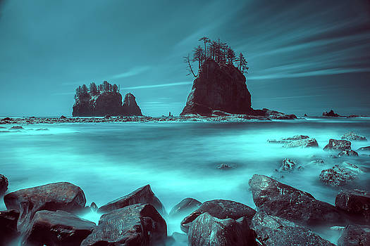 Pacific moody sea stacks by William Freebilly photography