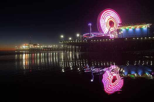Pacific Park Arcade at night at Santa Monica Pier by Zoe Schumacher