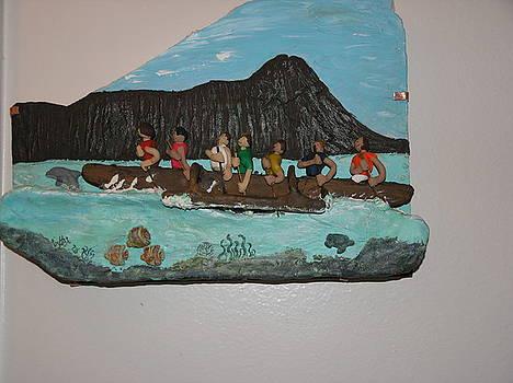 Paddeleers off Diamond Head by Shawn Elston