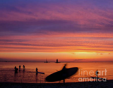 Paddle Surfers in the Sunset by Melissa Fague