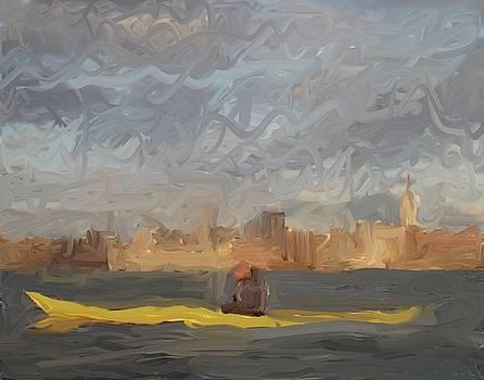 Paddler in NY, NY by Harry Spitz