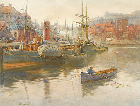 Paddler steamer and other vessels on the River Esk by Albert George Stevens
