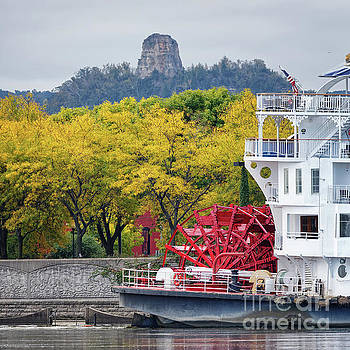 Paddlewheeler at Winona MN With Sugarloaf by Kari Yearous
