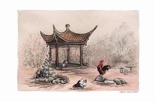 Pagoda chickens by Nancy Pahl