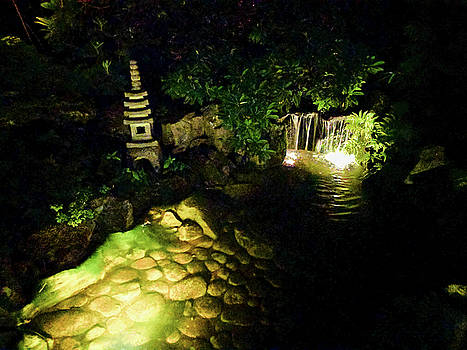 Japanese Pagoda waterfall at night by Michael Bessler