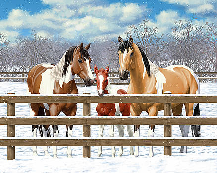 Paint Horses In Winter Corral by Crista Forest