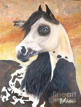 Paint Warrior Horse by Jodie  Scheller