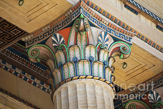 Painted Corinthian Column at Philadelphia Museum of Art by Leslie Banks