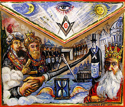Painted Masonic Apron, Brotherhood Of Mankind by Ari Roussimoff