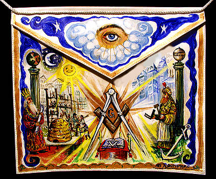 Painted Masonic Apron, Building A Civilization by Ari Roussimoff