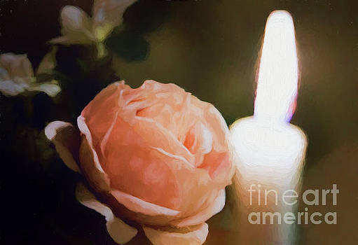 Painted Peach Rose with Candle by Linda Phelps