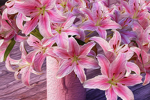 Painted Pink Lilies by Vanessa Thomas