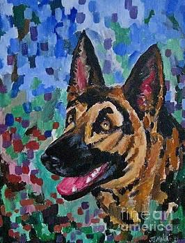 John Malone - Painted Portrait of German Shepherd