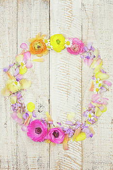 Painterly Ranunculus Floral Wreath by Susan Gary