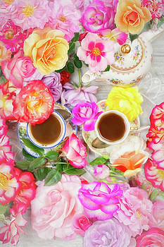 Painterly Tea Party with Fresh Garden Roses II by Susan Gary