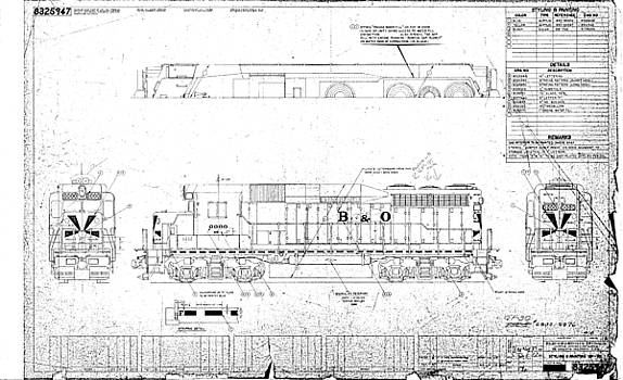 Painting and Lettering DiagramGP30 by Baltimore and Ohio Railroad