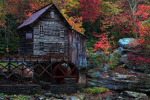 Painting Babcock State Park Glades Creek Grist Mill West Virginia by Carol Montoya
