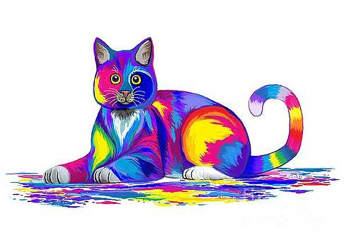 Painting Colorful Cat by Nick Gustafson