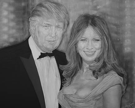 Painting of Donald and Melania Trump by Alex Krasky