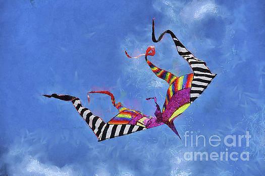 Painting of kite flying during Kite festival by George Atsametakis