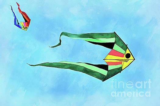 Painting of kites flying during Kite festival by George Atsametakis