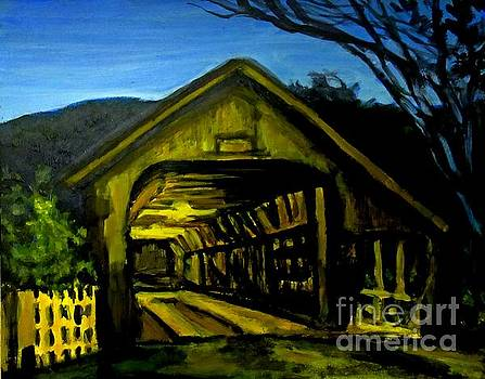 John Malone - Painting of Woodstock Bridge Vermont at Night