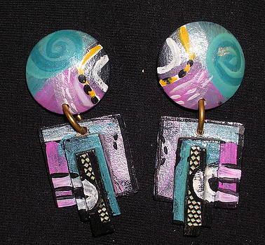 Pair Of Hand Painted Earrings by Barbara Yalof