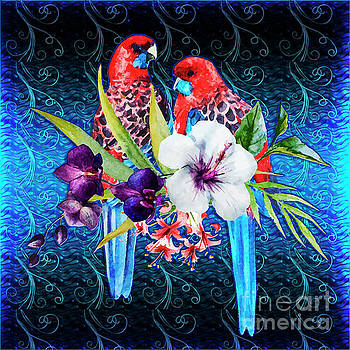 Paired Parrots by Digital Art Cafe