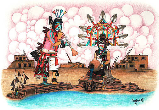 Paklik Mana and Lenang Kachinas by Alfred Dawahoya