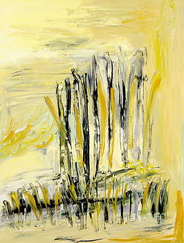 Pale Yellow Abstract by Maggis Art