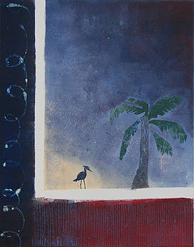 Palm and Heron - Monotype by Libby  Cagle