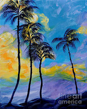 Moon over Palm Trees by Art by Danielle