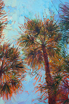 Palm Color - Triptych Center Panel by Erin Hanson