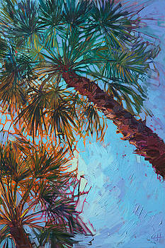 Palm Color - Triptych Right Panel by Erin Hanson
