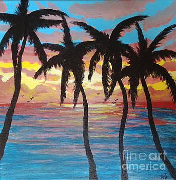 Palm tree sunset by Heather James