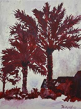 Palm Trees Acrylic Modern Art Painting by Derek Mccrea