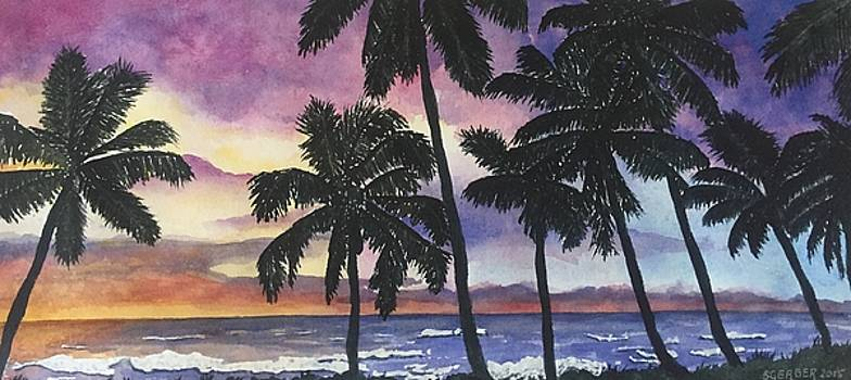 Palm Trees at Sunset by Sharon Gerber