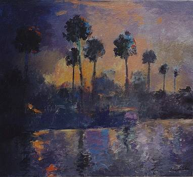 Palm Trees at Twilight by Anne Lattimore