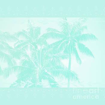 Palm Trees Hawaii Tropical Cyan by Sharon Mau