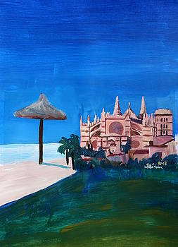 Palma de Mallorca Spain Balearic Islands with Cathedral La Seu by M Bleichner