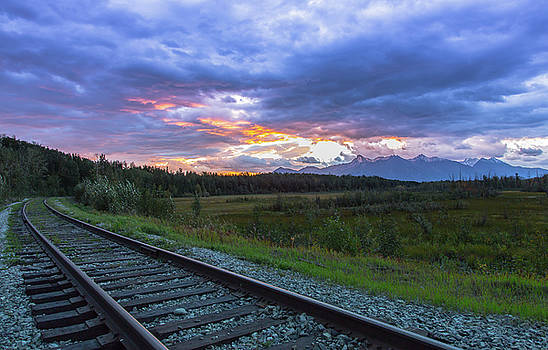 Palmer Alaska Railroad Sunrise by Sam Amato
