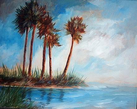 Palmettos on a Beach by Gloria Turner