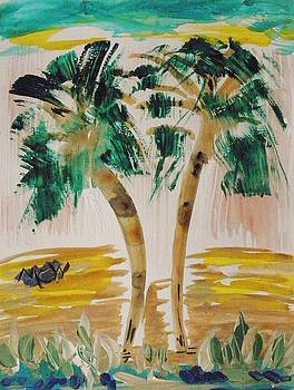 Palms and Crashing Waves by Mary Carol Williams