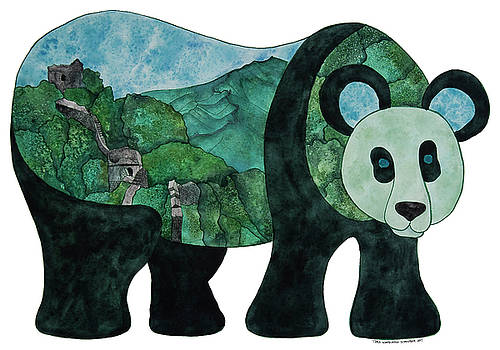 Panda Bear - Great Wall of China by Tara Warburton-Schwaber