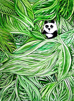 Panda Bear Sitting In Leaves Alcohol Inks by Danielle  Parent