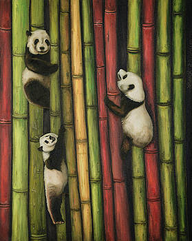 Pandas Climbing Bamboo by Leah Saulnier The Painting Maniac