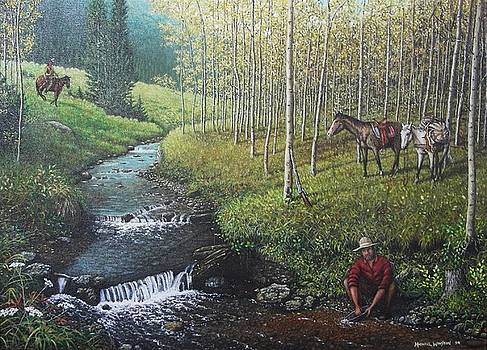 Panning in the Wyoming Territory, 1845 by Michael Winston