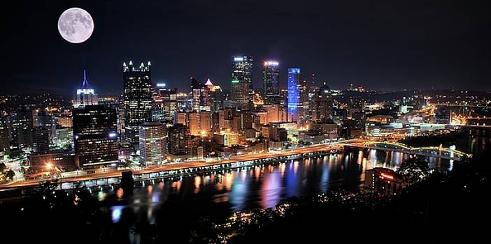 Pano and Moon Pittsburgh 2017 by Frozen in Time Fine Art Photography
