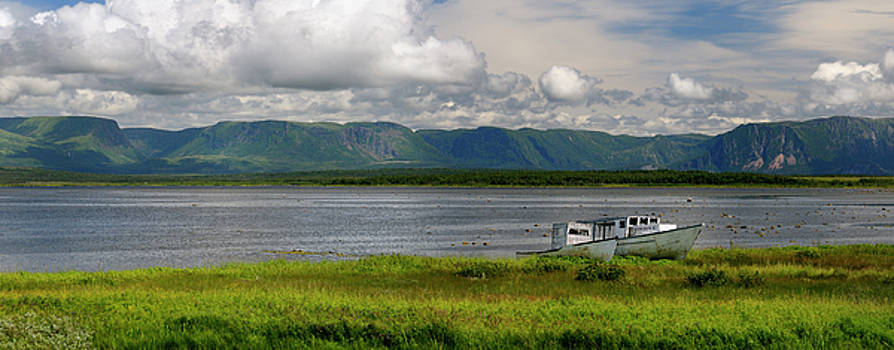 Reimar Gaertner - Panorama of abandoned boats at Parsons Pond Newfoundland with Gr